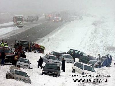Гололёдное явление на трассе явилось причиной массовой аварии